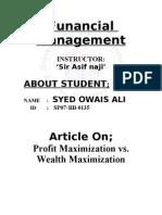Article Profit vs Wealth Maximization