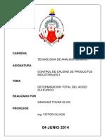 Informe de Acidez Total de Acido Sulfurico