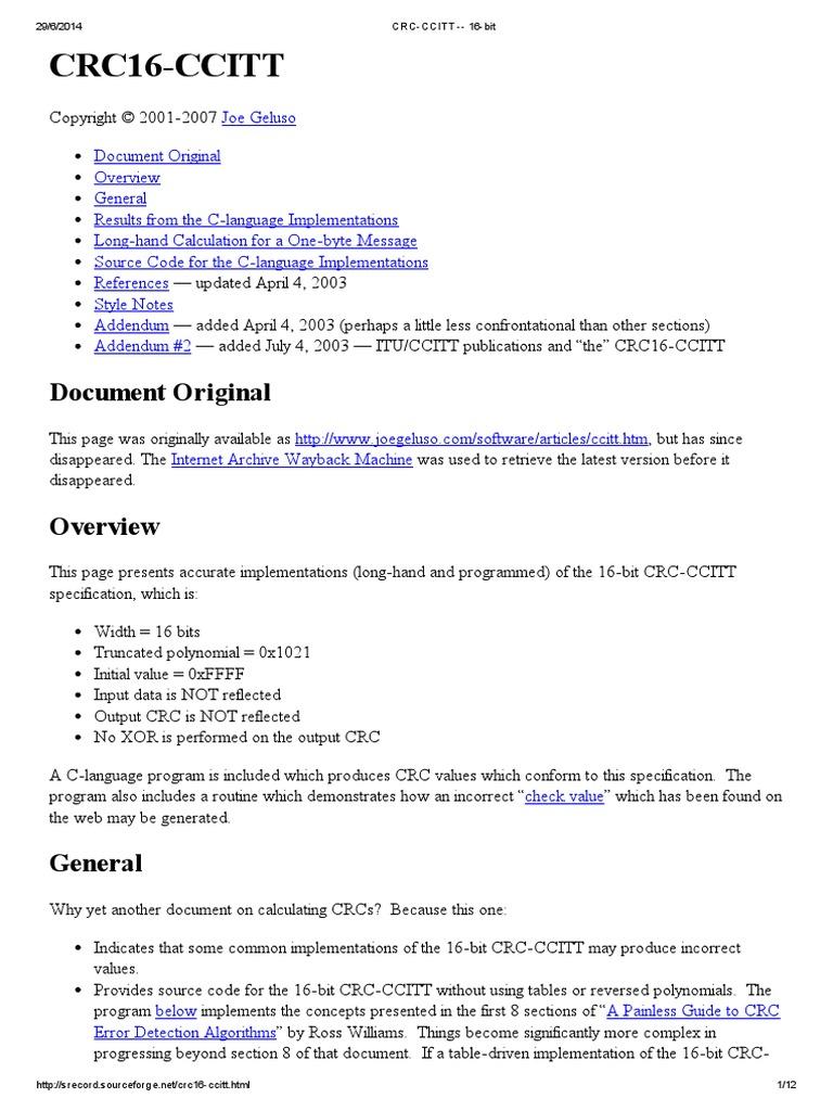 CRC-CCITT -- 16-bit pdf | Computer Architecture | Digital & Social Media