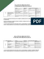 RELACIÓN DE LIBROS DE TEXTO 2014-2015
