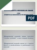 MRU - Atributii Ale Managerului de Resurse Umane