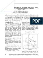 Geometric Characteristic in the Relative Spiral Feed and Contact Contour During Cold Orbital Deformation