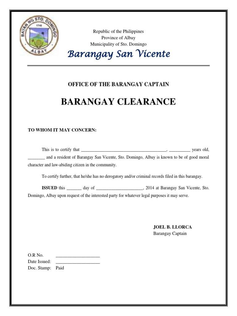 Brgy Clearance Sample Revenue Output Economics