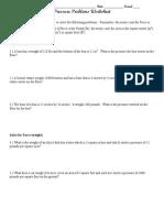 Pressure Worksheet