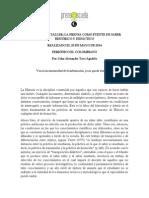 Informe Del Taller La Prensa Como Fuente de Saber Histórico y Didáctico 20 de Mayo