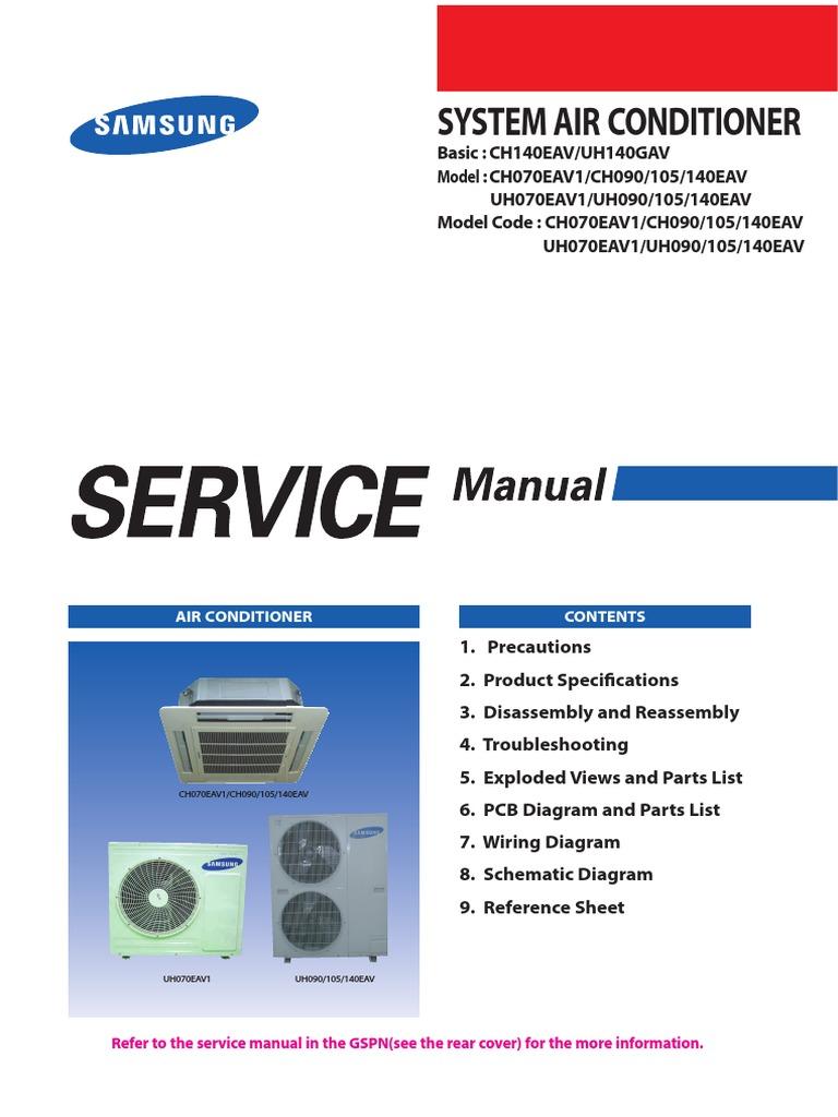 samsung cac 4 way cassette service manual air conditioning rh scribd com Samsung Split Air Conditioner India Samsung Split Air Conditioner Models