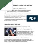 Trastornos Que Presentan Los Niños en El Desarrollo Del Lenguaje