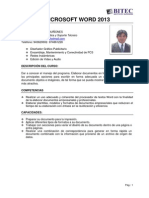 Descripcion Del Curso de Microsoft Word 2013