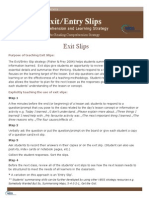 Exit Entrance Slip Explanation Examples