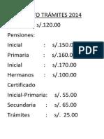 COSTO TRÁMITES 2014