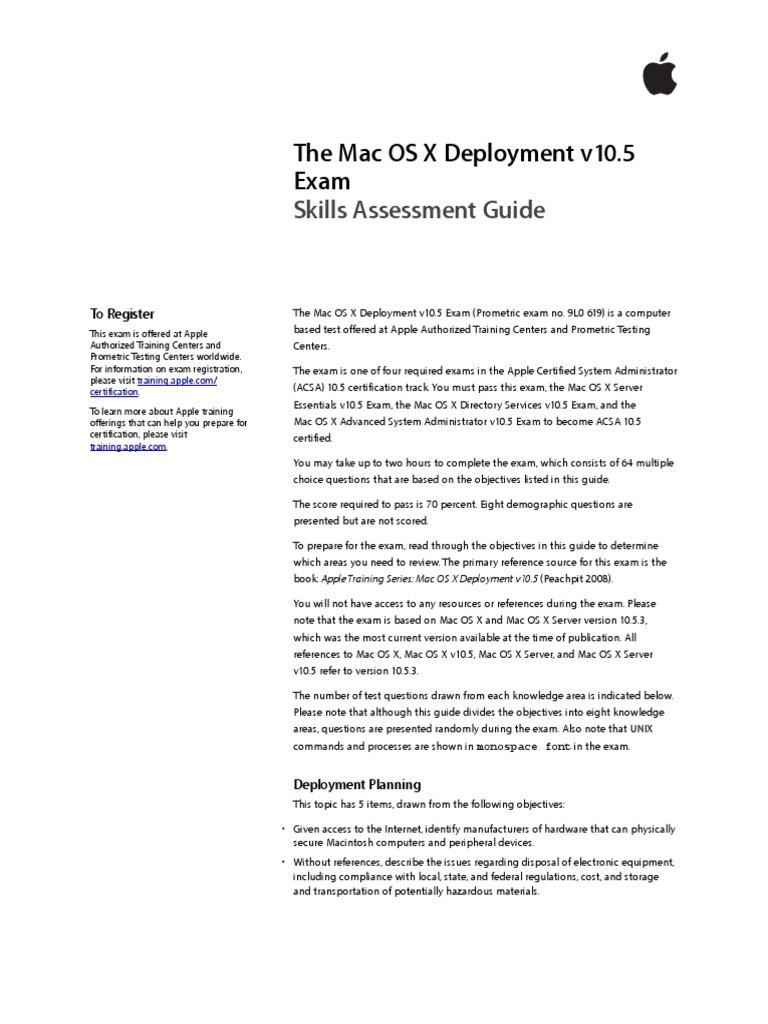 Mac Os X Deployment 105 Exam Skills Assessment Guide Operating