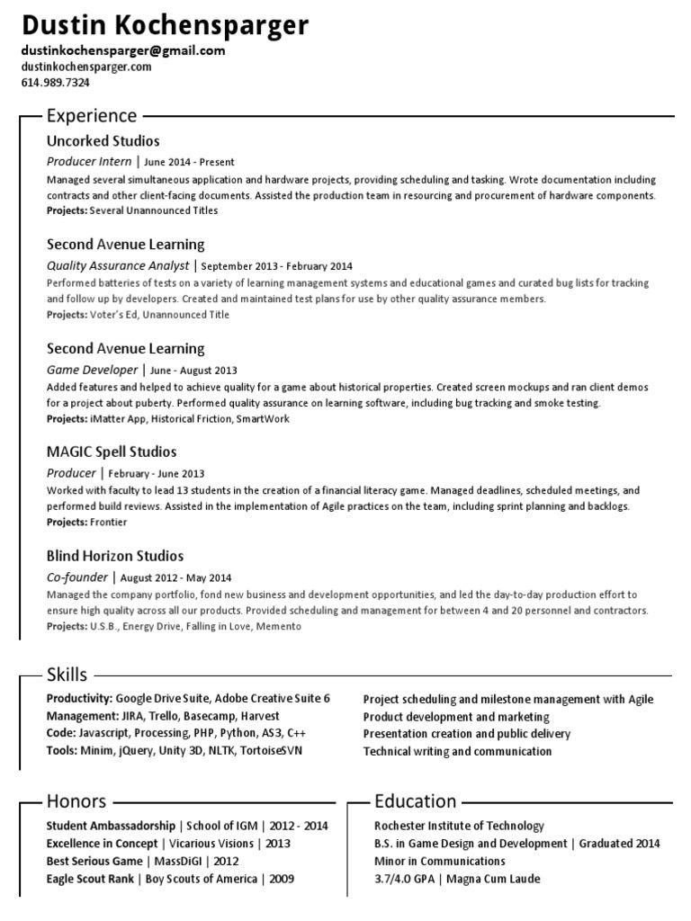 Kochensparger Resume | Quality Assurance (18 views)