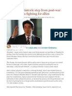 Japan Takes Historic Step From Post-war Pacifism, OKs Fighting for Allies