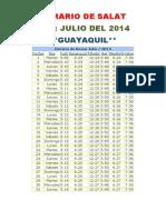 Horarios de Salats JULIO 2014 Ecuador