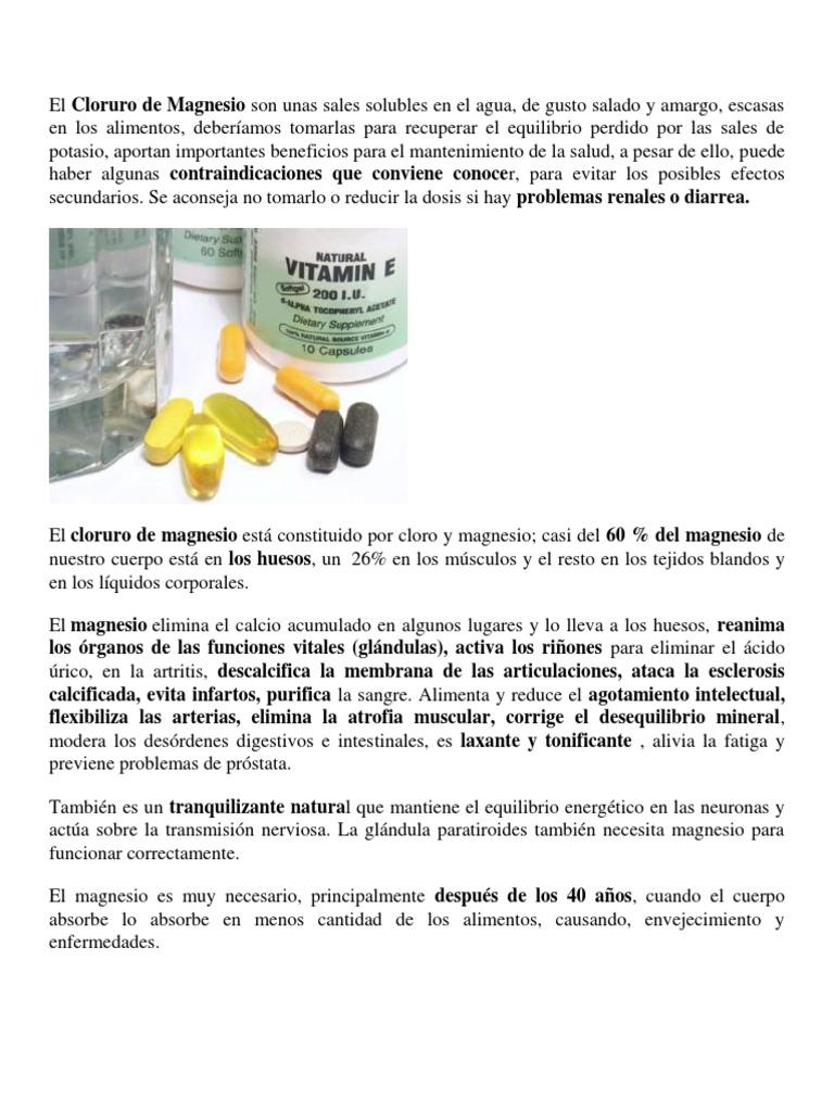 el cloruro de magnesio tiene efectos secundarios