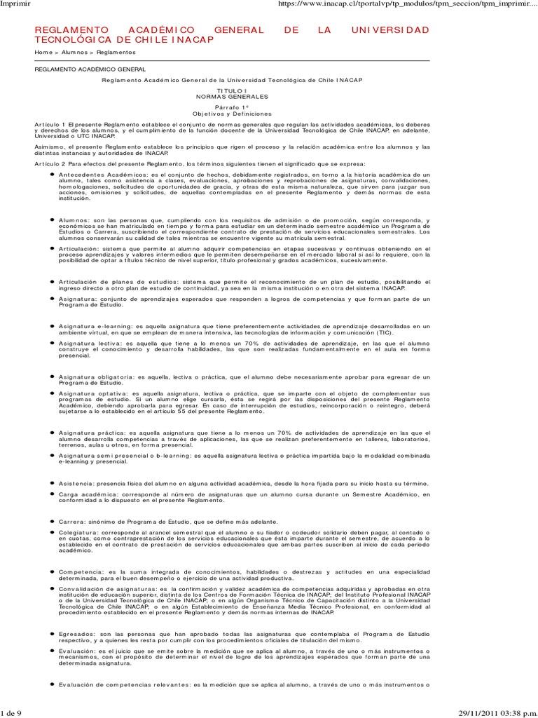 Reglamento Académico UTC INACAP
