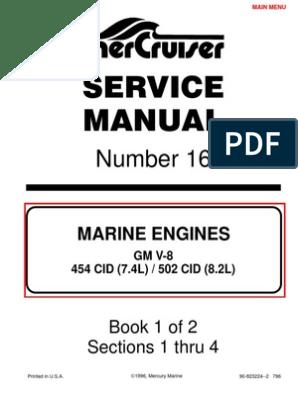 7 4L 454 Mercruiser Manual   Gasolina   Motor de combustión