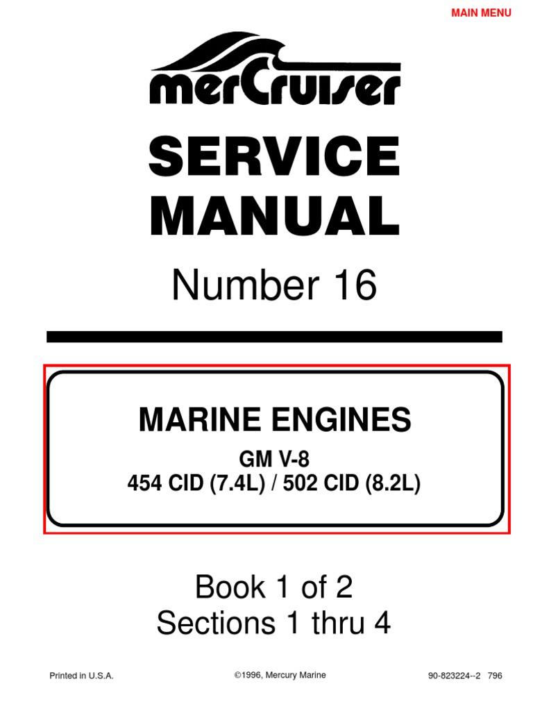 7 4l 454 mercruiser manual gasoline internal combustion engine