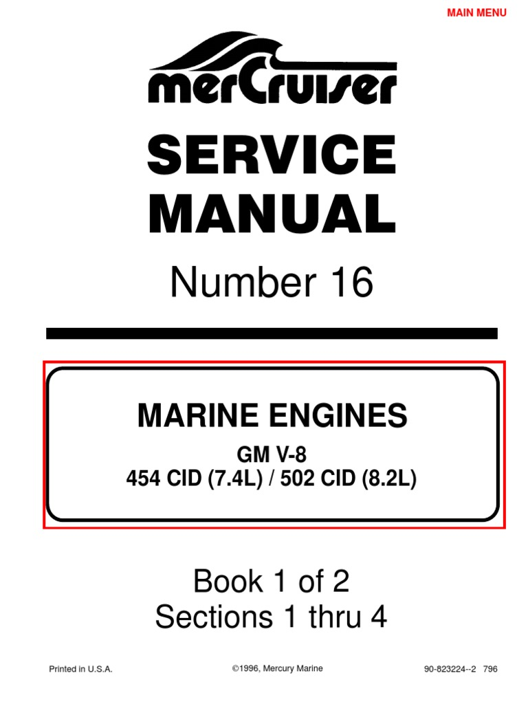 7.4L 454 Mercruiser Manual | Gasoline | Internal Combustion Engine