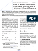 On The Error Analysis of The New Formulation of One Step Method Into Linear Multi Step Method For The Solution of Ordinary Differential Equations