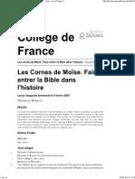 Les Cornes de Moïse. Faire Entrer La Bible Dans l'Histoire - Les Cornes de Moïse