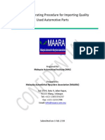 Standard Operating Procedure for Importing Used Automotive Parts