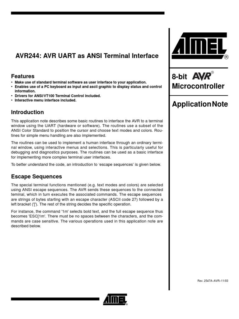 AVR UART as ANSI Terminal Interface | Computer Terminal