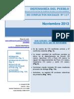 Reporte Mensual de Conflictos Sociales N 117 Noviembre 2013