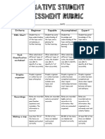 formative student assessment rubric
