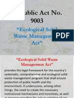Republic Act No 9003 Ecological Solid Waste Management