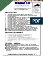 Material Tabla Chequeo Diario Cargador Frontal Komatsu
