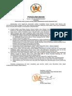 Pengumuman Kelulusan Seleksi PDW 2014