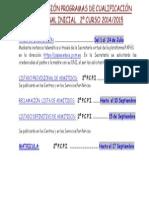 Cartel Plazos Admisión Pcpi 2014