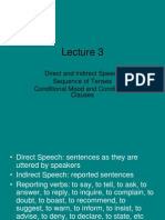 Lecture 3 - Indirect Speech, Conditionals