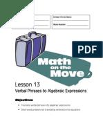 Algebra Handout