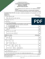 Barem Matematica Tehnologic Bac 2014
