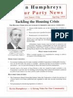 Kevin Humphreys - Housing Crisis Leaflet Spring 1999