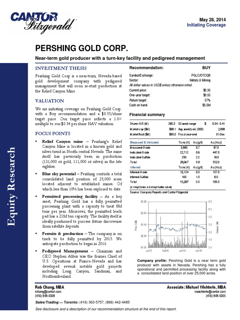 Cantor Fitzgerald Pershing Gold Corp Financial Analyst