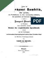 Ueber die Maitrayani Samhita