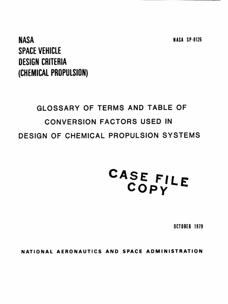 Nasa Sp8126 Space Vehicle Design Criteria Glossary Of Terms Electric Blanket Cycle Timer Circuit Free Electronic Circuits 8085 And Table Conversion Factors Used In Chemical Propulsion Systemspdf Rocket