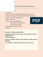 Online Journalism Internship Application
