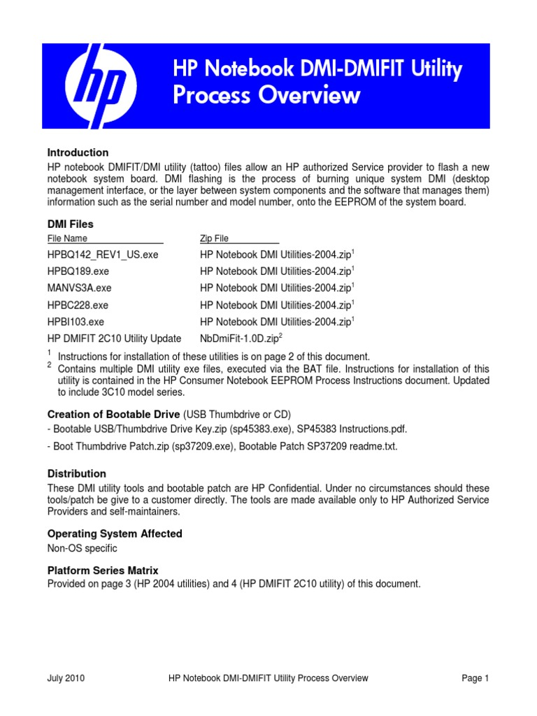 HP Notebook DMI Overview | Usb Flash Drive | Booting