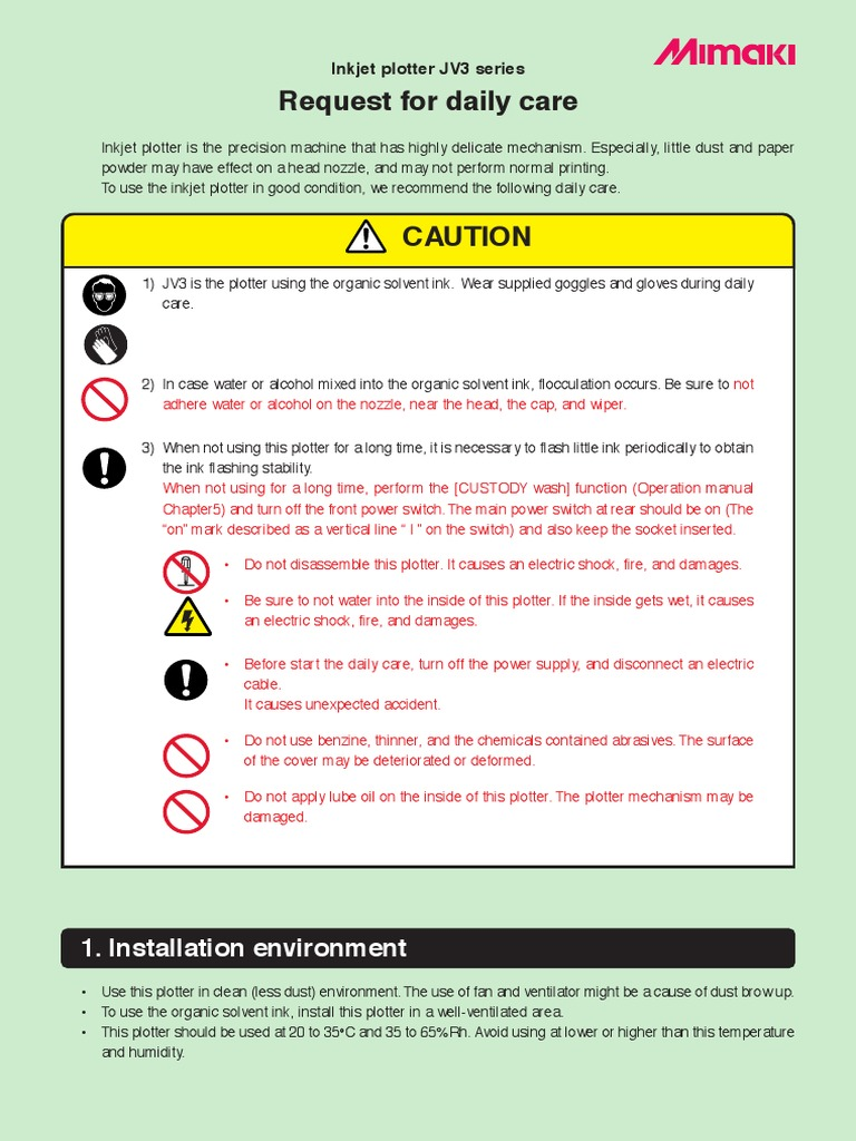 Jv3 Daily Care Ink Dust Warning Electric Shock Could Occur If Used On Wet Surfaces