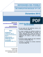 Reporte Mensual de Conflictos Sociales N 118 Diciembre 2013