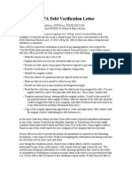 Sample FDCPA Debt Verification Letter
