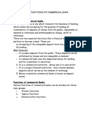 Meaning and Functions of Commercial Bank | Banks | Deposit Account