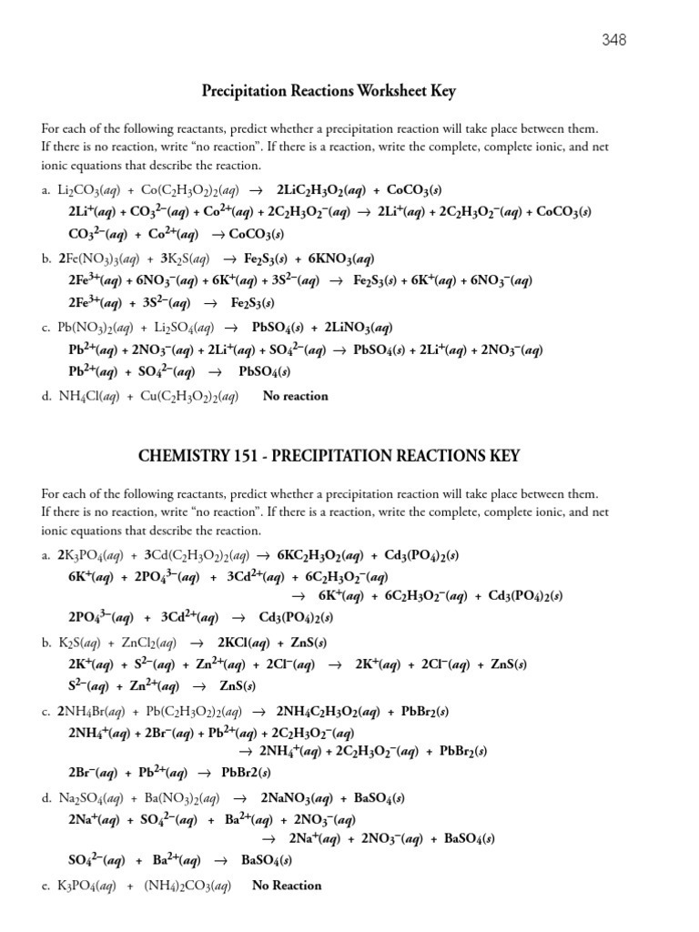 worksheet Precipitation Reactions Worksheet precipitation keys chemical reactions process engineering
