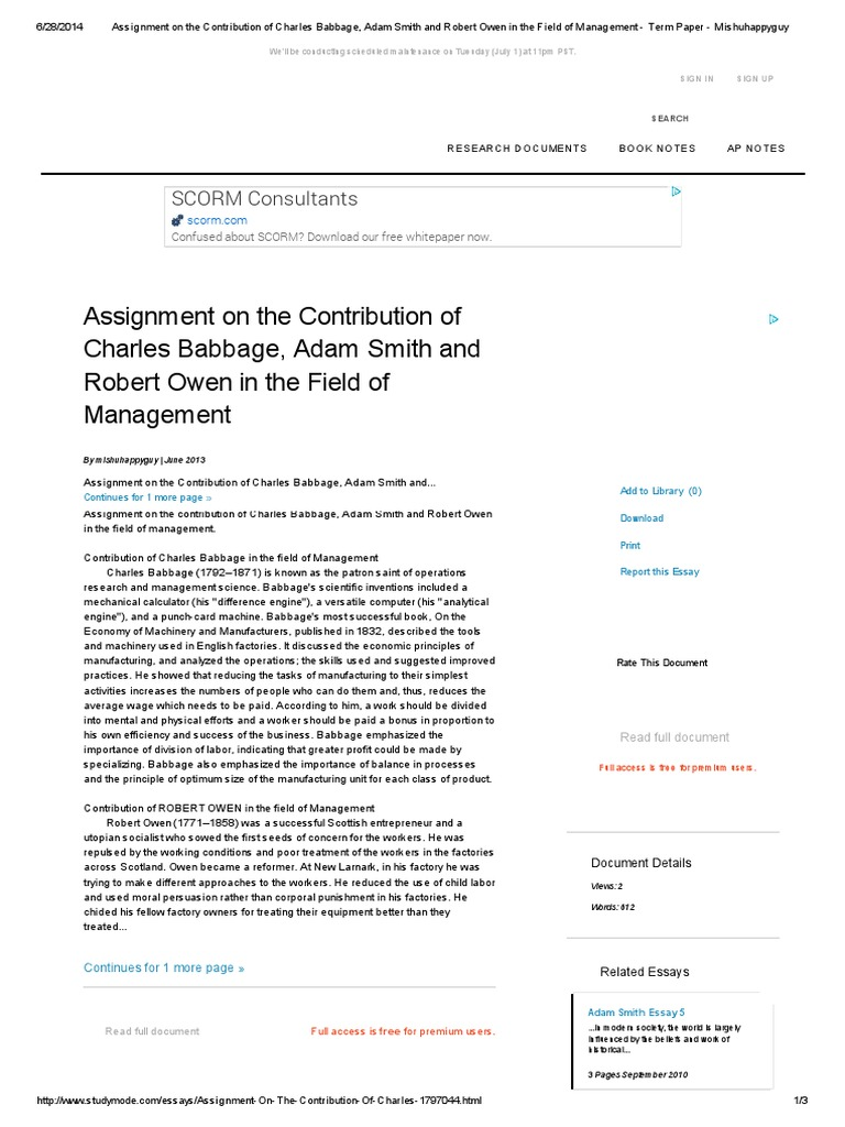 assignment on the contribution of charles babbage adam smith and assignment on the contribution of charles babbage adam smith and robert owen in the field of management term paper mishuhappyguy adam smith science