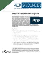 Meditation for Health Purpose