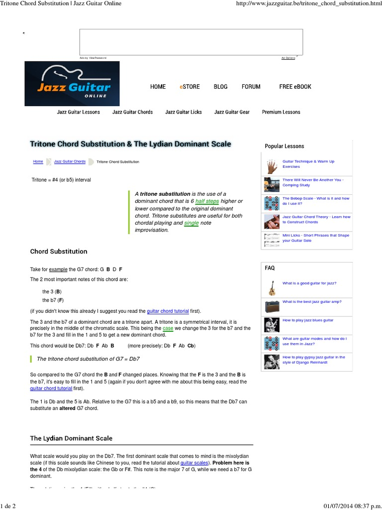 Tritone Chord Substitution Jazz Guitar Online Chord Music Jazz